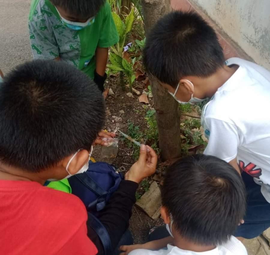 Antusias anak anak melihat hasil tangkapan